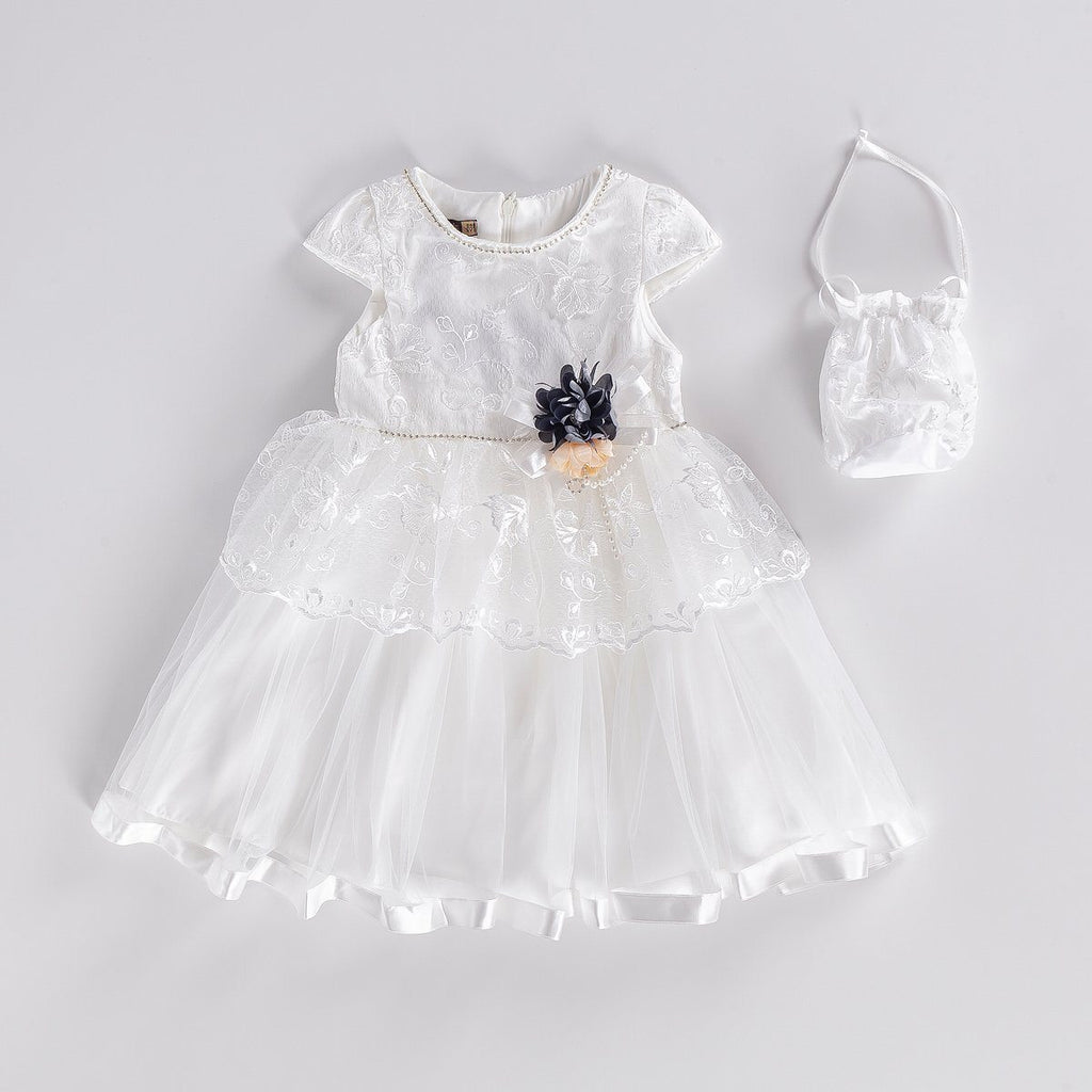 LACED EMROIDERED KID GIRL GOWN PARTY DRESS WITH BAG WHOLESALE