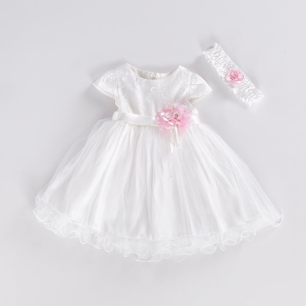 LACED EMBROIDERED BABY GIRL GOWN PARTY DRESS WHOLESALE