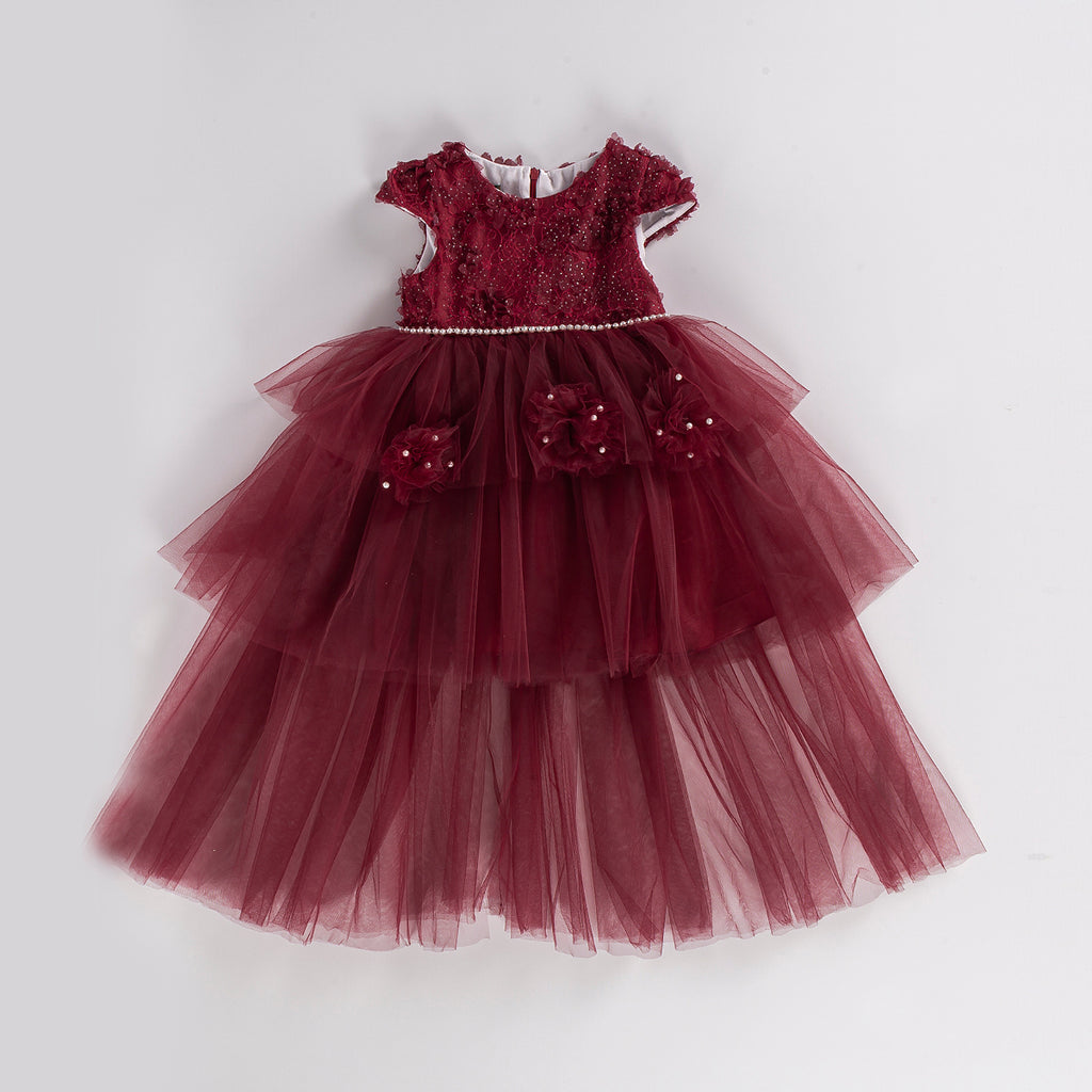 LIGHT TULLED FLOWERED KID GIRL GOWN PARTY DRESS WHOLESALE