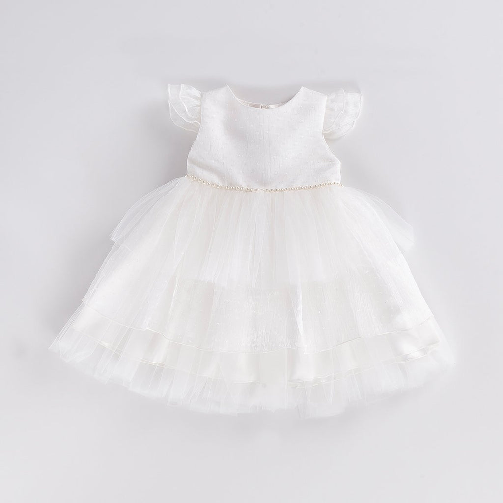 TIDY PEARLY LAYERED KID GIRL GOWN PARTY DRESS WHOLESALE