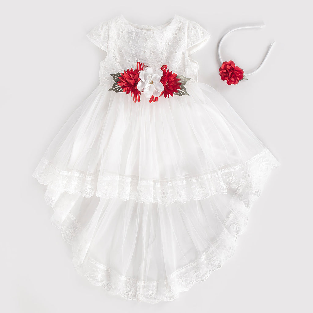 FLOWERED TAILED EMBROIDERED KID GIRL DRESS WHOLESALE