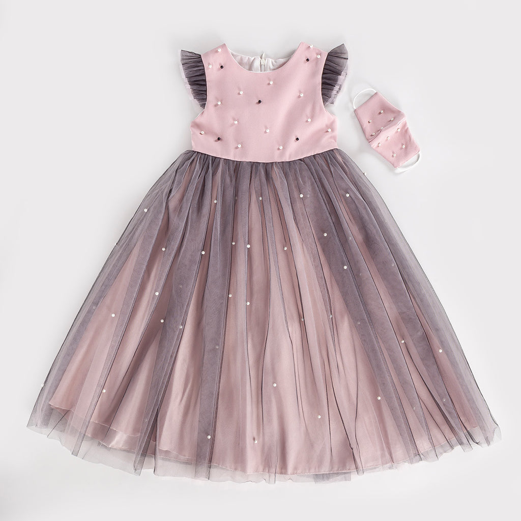 PEARL TULLE MASK KID GIRL GOWN PARTY DRESS WHOLESALE