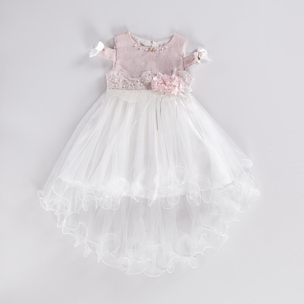 SILVERY PEARL DRESS KID GIRL GOWN PARTY DRESS WHOLESALE