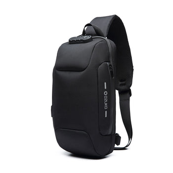 Ozuko New Chest Bag USB Anti-theft Men's Chest Bag Casual Shoulder Bag Waterproof Oxford Cloth