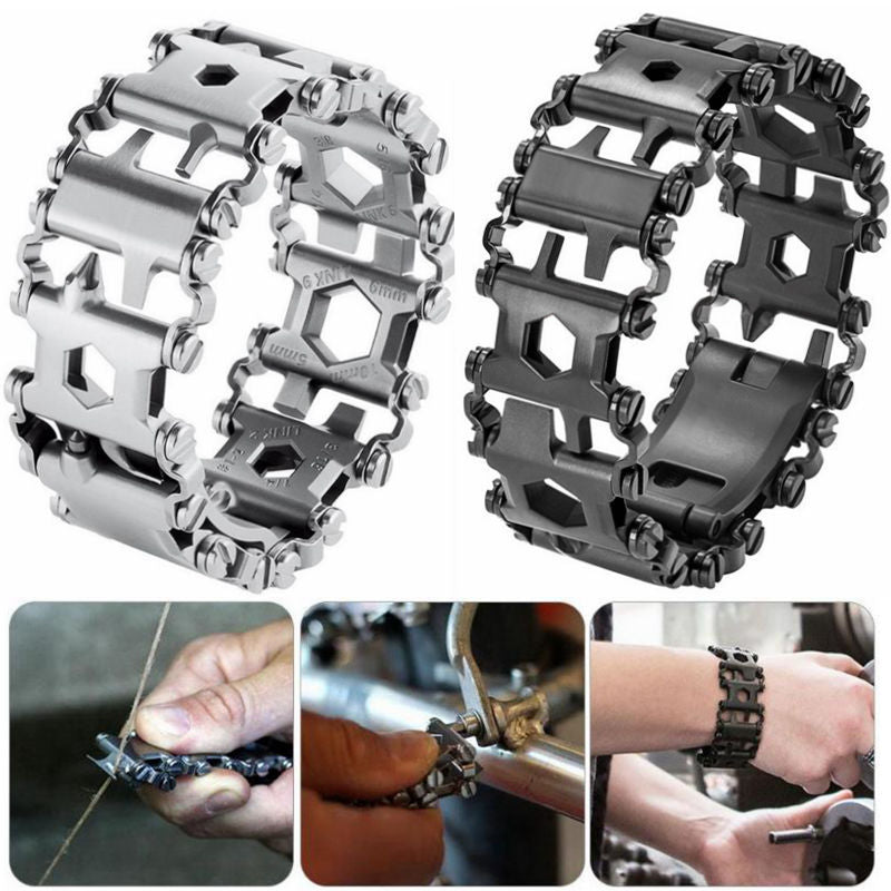 29 in 1 Multi Tool Bracelets Multifunction Repair Survival Bracelet Stainless Steel Screwdriver Wrench Emergency Kit