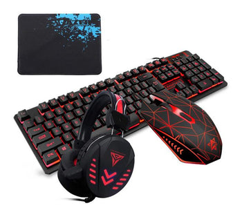 Gaming Keyboard Waterproof design USB Wired Multimedia RGB Backlit and LED Gaming Headphone and 3200DPI LED Gaming Mouse Sets