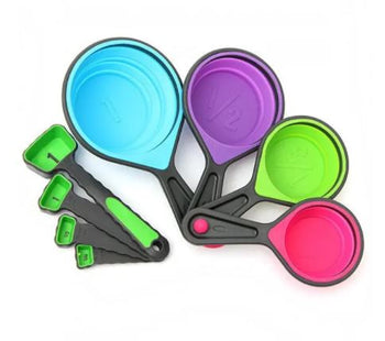 8pcs Silicone Colorful Collapsible Measuring Cups Spoons Kitchen Tool Set