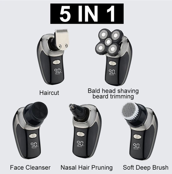 5 IN 1 Dry Wet Dual Use Electric Rotary Shaver Men Bald Beard Razor with 5 Floating Cutter Head