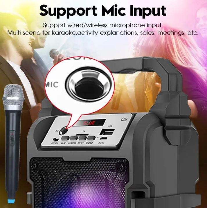 Portable Bluetooth Wireless Speaker Subwoofer Square Dance 3D Surround Sound TF Card Music Player with Microphone