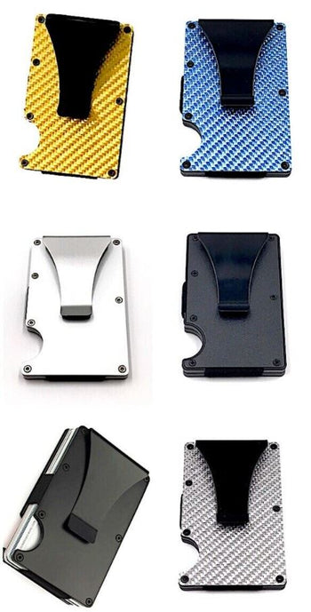 RFID Blocking Slim Money Clip Carbon Fiber Wallet ID Credit Card Holder