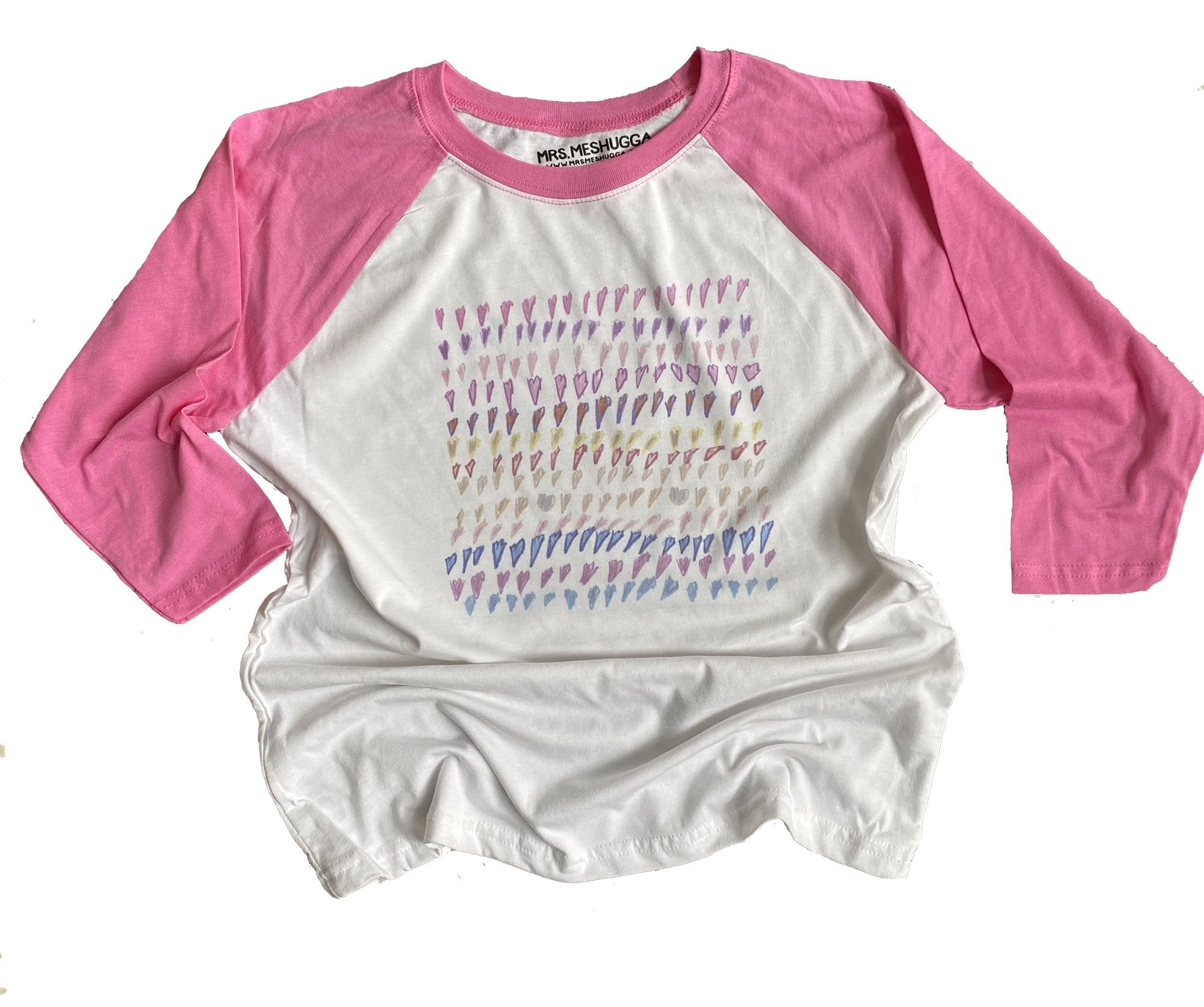 Hearts Abound Kids Baseball Shirt - Pink