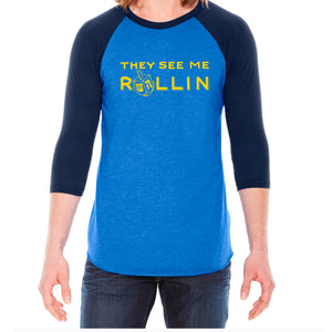 They See Me Rollin Hanukkah Adult Baseball Shirt