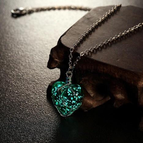 Crystal Heart Glow In The Dark Necklace-Handmade Joy