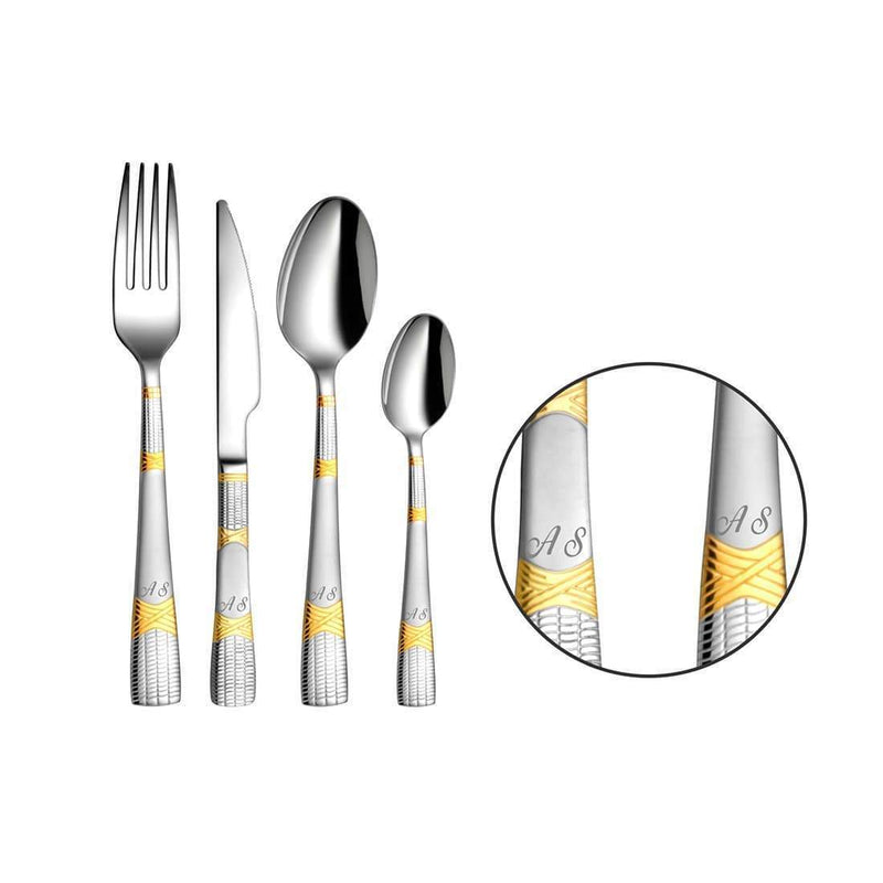 ShriandSam Cutlery Personalized 24 PCS Cutlery Set - Lush (Customized Name Initials)