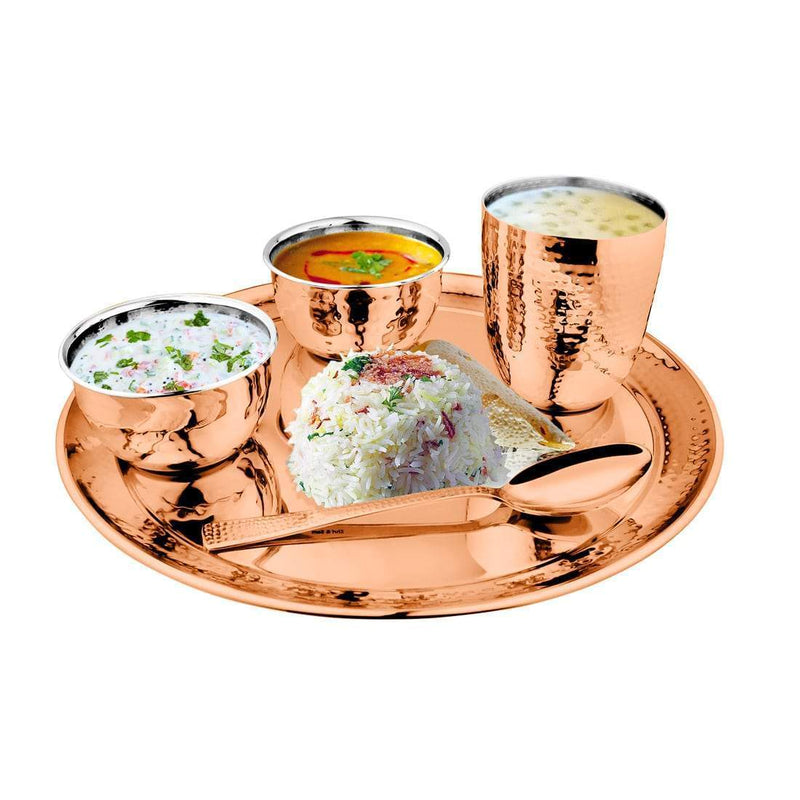 JAGDAMBA CUTLERY LIMITED Dinner Set 5 PCS Hammered Copper Thali Set with PVD Coating - Diamond