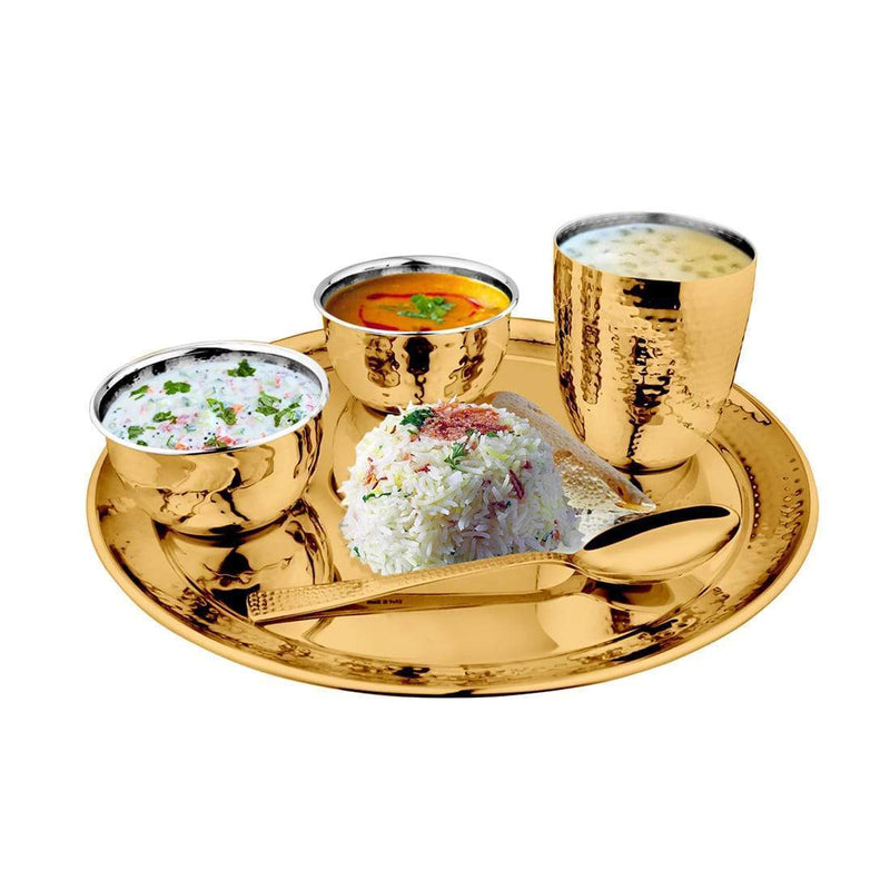 JAGDAMBA CUTLERY LIMITED Dinner Set 5 PCS Hammered Gold Thali Set with PVD Coating - Diamond