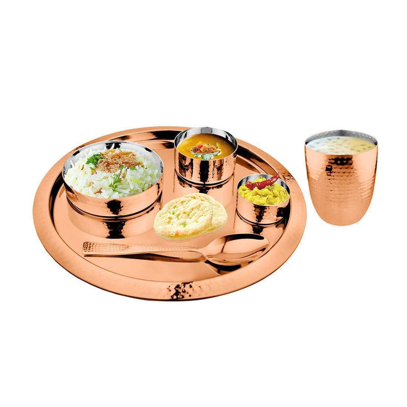 JAGDAMBA CUTLERY LIMITED Dinner Set 6 PCS Hammered Copper Thali Set with PVD Coating - King
