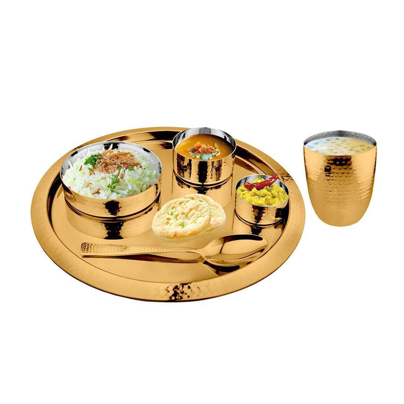 JAGDAMBA CUTLERY LIMITED Dinner Set 6 PCS Hammered Gold Thali Set with PVD Coating - King