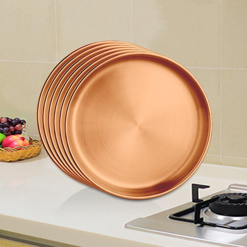 JAGDAMBA CUTLERY LIMITED Dinner Set 6 PCS Rose Gold Double Wall Full Plate with PVD Coating - Nikki