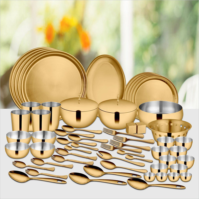 JAGDAMBA CUTLERY LIMITED Dinner Set 60 PCS Gold Dinner Set with PVD Coating (4 People) - Majestic