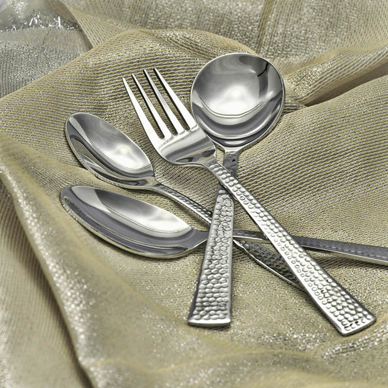 JAGDAMBA CUTLERY LIMITED Cutlery 24 PCS Cutlery set with stand - Impressa Hammered