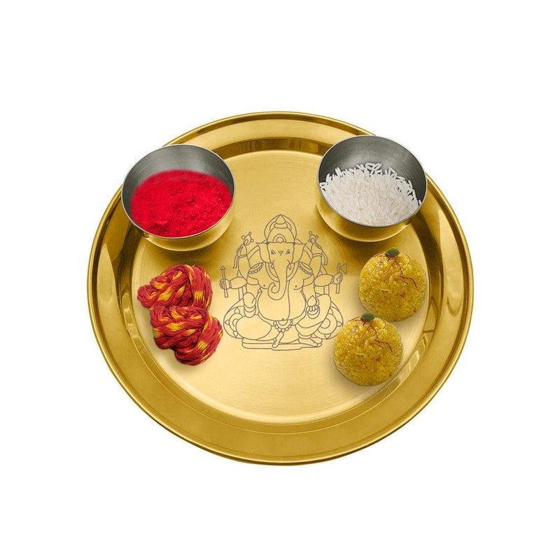 JAGDAMBA CUTLERY LIMITED Dinner Set Ganesh Chaturthi Special - Gold Pooja Thali Set