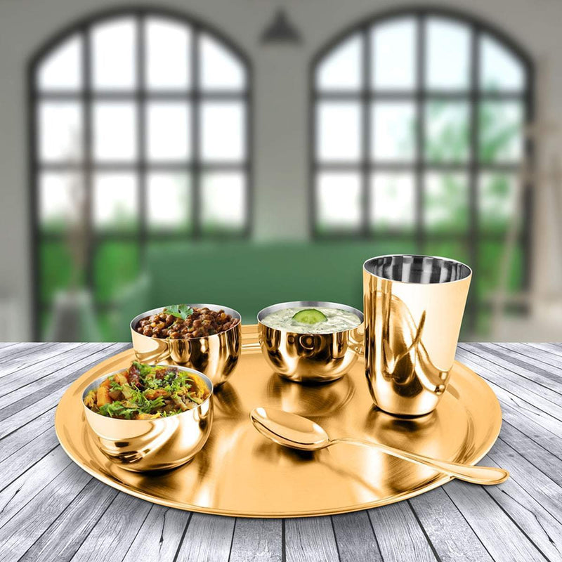 JAGDAMBA CUTLERY LIMITED Dinner Set Gold Thali Set with PVD Coating - Majestic