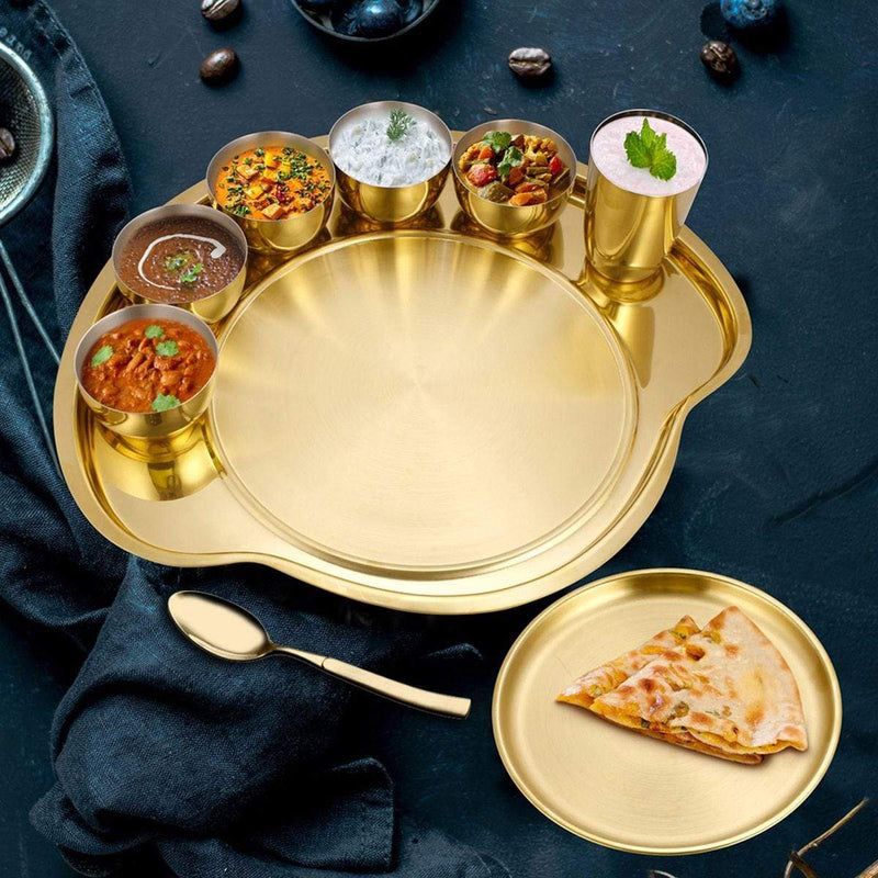 JAGDAMBA CUTLERY LIMITED Dinner Set Gold Thali Set with PVD Coating - Nifty (1 Person)