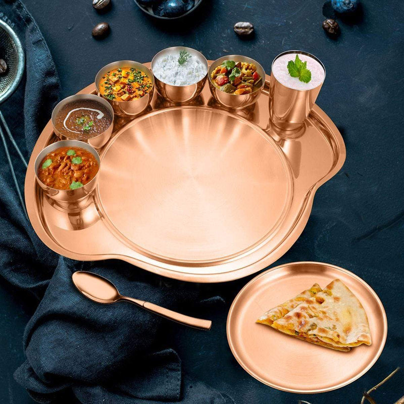 JAGDAMBA CUTLERY LIMITED Dinner Set Rose Gold Thali Set with PVD Coating - Nifty (1 Person)