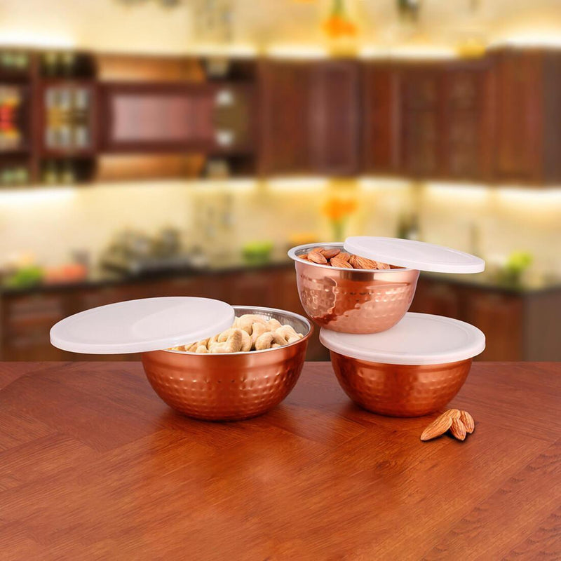 JAGDAMBA CUTLERY LIMITED Serveware 3 PCS Stainless Steel Storage Lid Bowls Hammered with Copper Color Coated - Fresco