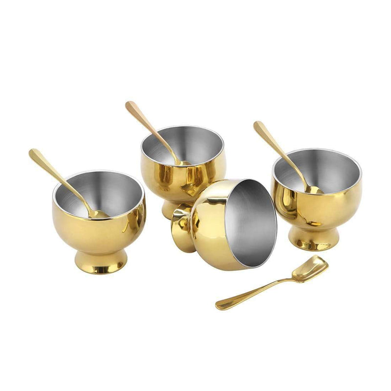 JAGDAMBA CUTLERY LIMITED Serveware 4 PCS D/W Gold Ice-cream Set with PVD Coating - Forte
