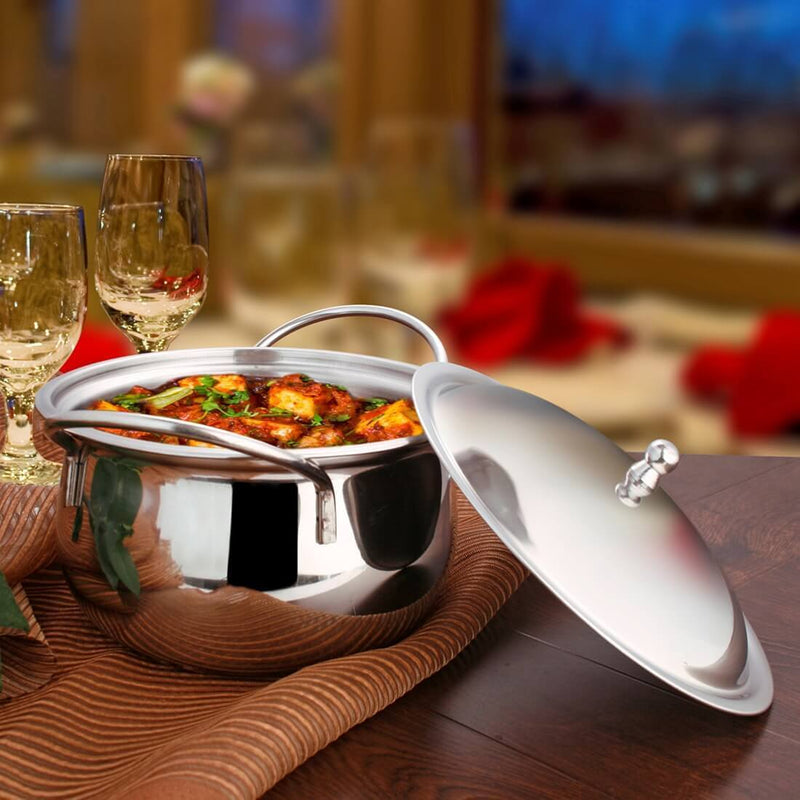 JAGDAMBA CUTLERY LIMITED Serveware Handi- Classic Stainless Steel With Stainless Steel Lid