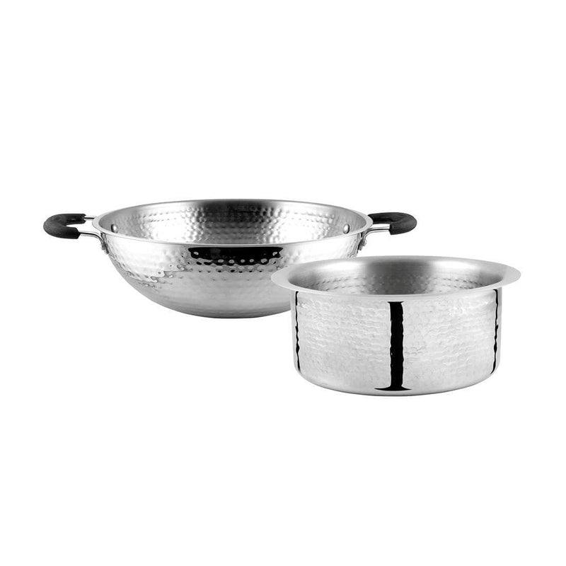 Jagdamba Cutlery Pvt Ltd. Combo Stainless Steel Hammered Patila and Kadhai Set
