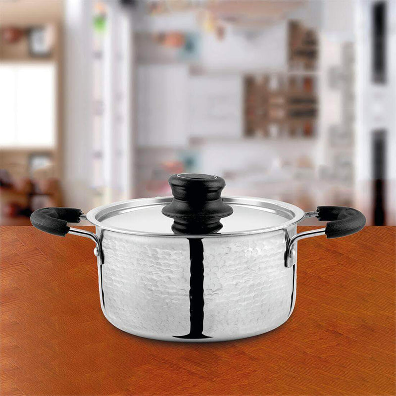 Jagdamba Cutlery Pvt Ltd. Cookware Hammered Casserole with Lid