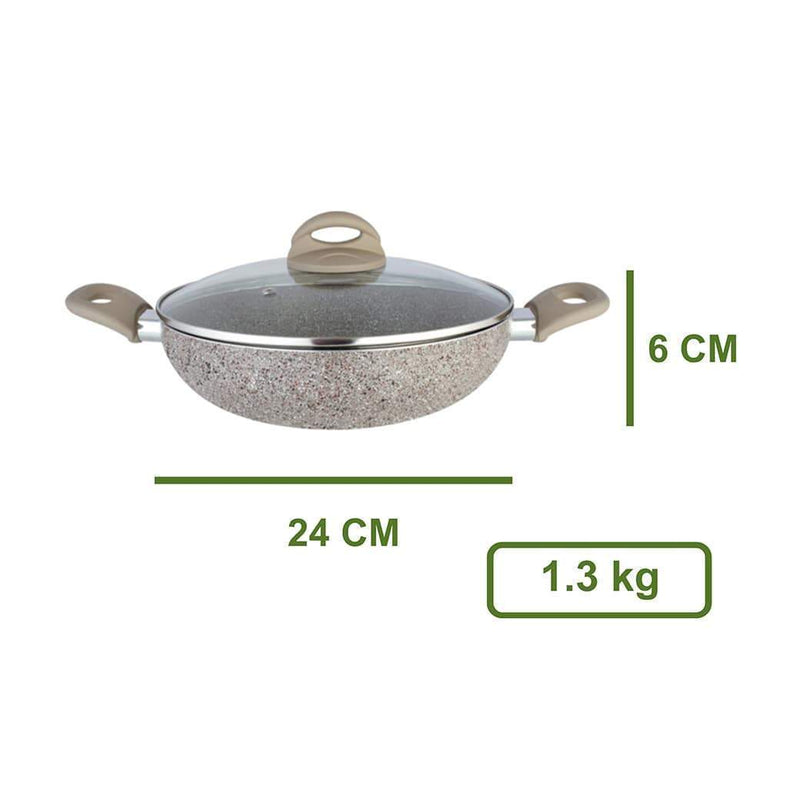 Jagdamba Cutlery Pvt Ltd. Cookware Kadhai with Glass Lid - Rockline