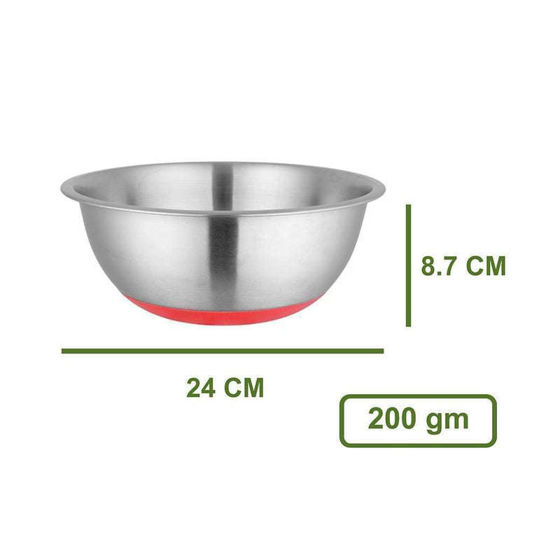 Jagdamba Cutlery Pvt Ltd. Daily Needs Anti Skid/ Mixing Bowl - 24cm- Ferro