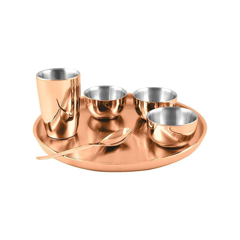 Jagdamba Cutlery Pvt Ltd. Dinner Set Copper Thali Set with PVD Coating Double Wall - Nikki