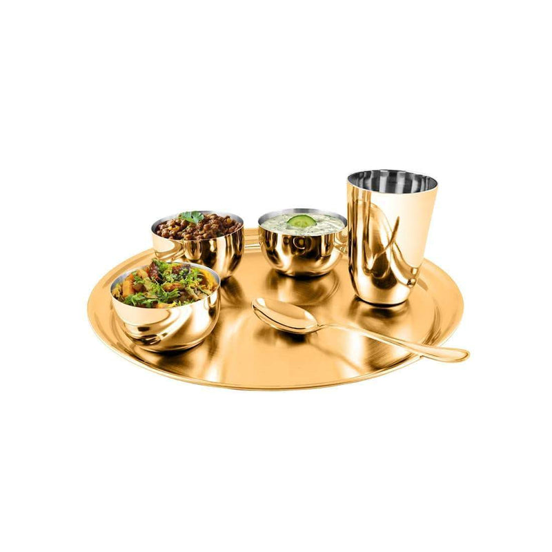 Jagdamba Cutlery Pvt Ltd. Dinner Set Gold Thali Set with PVD Coating - Majestic
