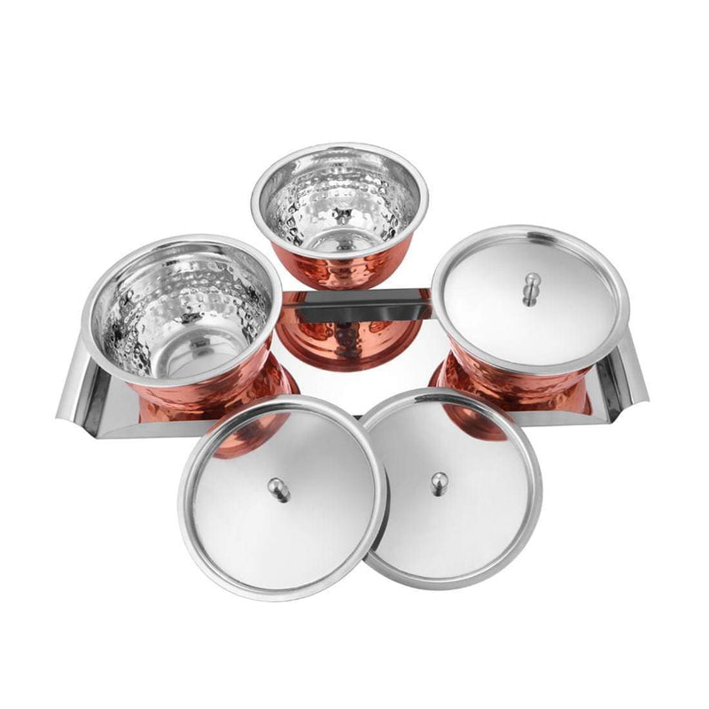 Jagdamba Cutlery Pvt Ltd. Serveware Copper Hammered Serving Bowl Set with SS Lid and Tray - Miska