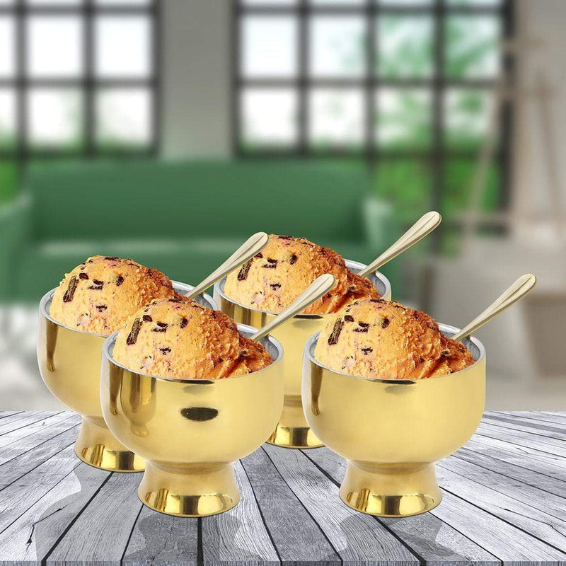 Jagdamba Cutlery Pvt Ltd. Serveware D/W Gold Ice-cream Set of 4 PCS with PVD Coating - Forte