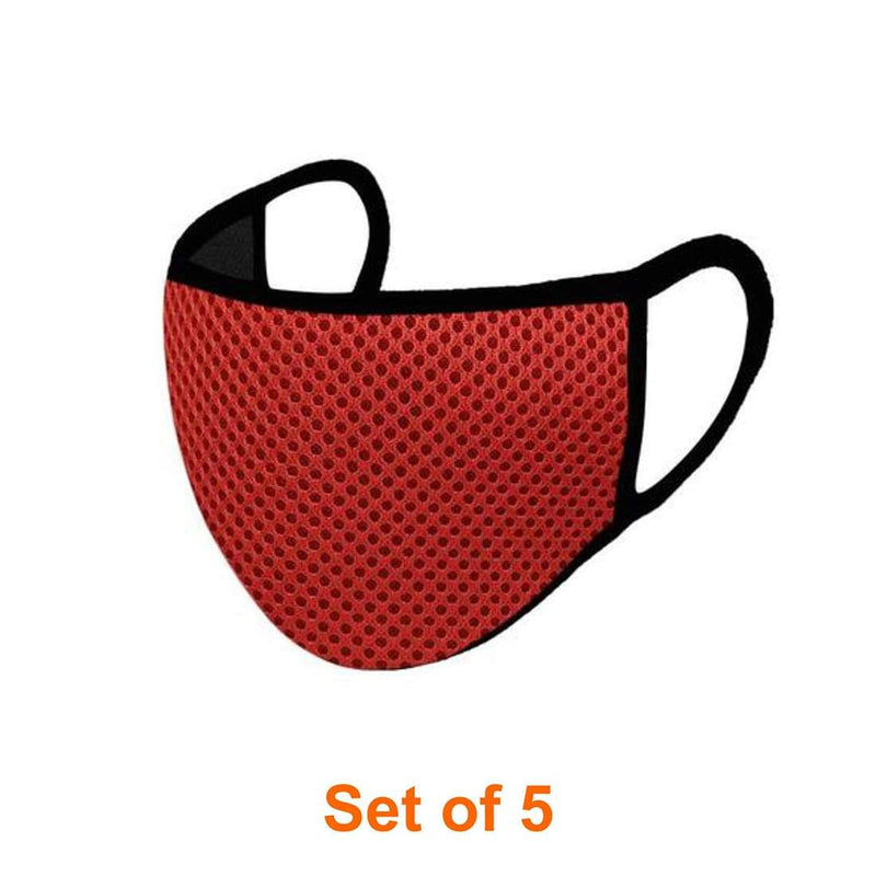 ShriandSam Set of 5 Reusable 2-Layers Face Mask - Net Red and Black