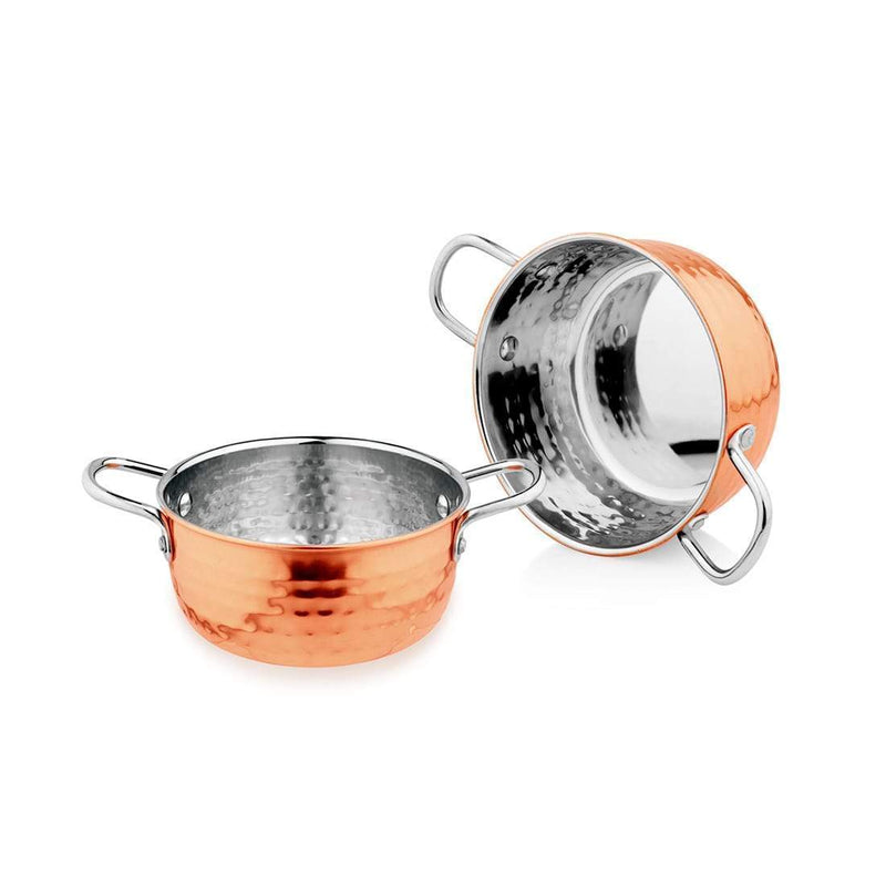JAGDAMBA CUTLERY LIMITED Serveware 2 PCS Stainless Steel Casserole with Copper Color Outside - Hammered