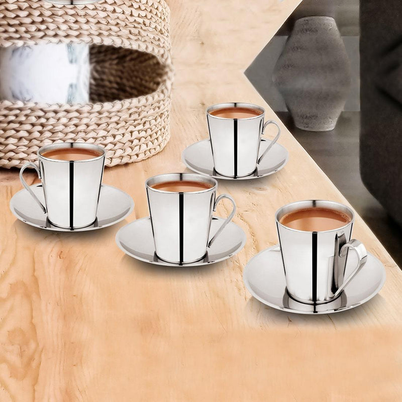 JAGDAMBA CUTLERY LIMITED Serveware 4 PCS Cup and Saucer - V SHAPE