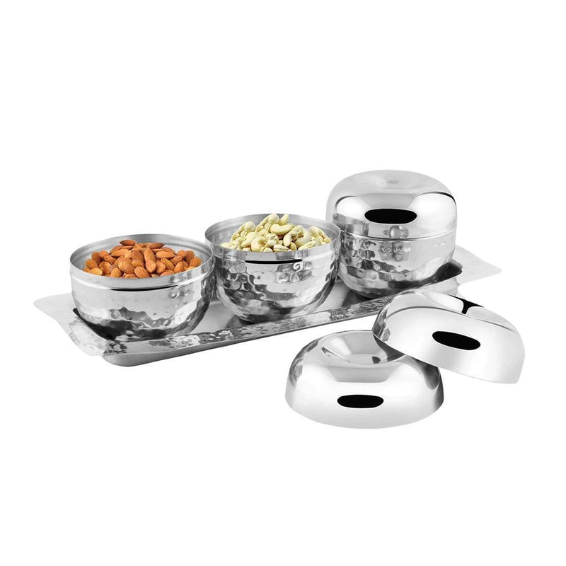 JAGDAMBA CUTLERY LIMITED Serveware 4 PCS Stainless Steel Hammered Canister with Tray