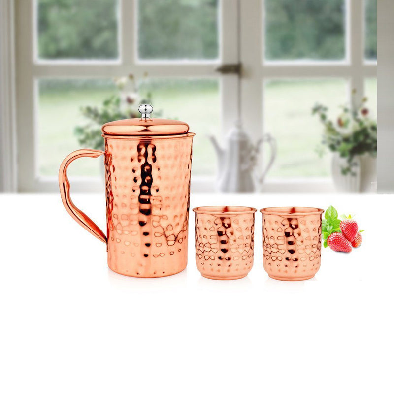JAGDAMBA CUTLERY LIMITED Serveware Tamram Copper Jug with 2 Glasses - Hammered