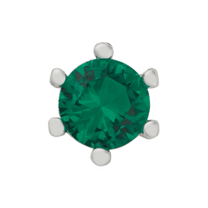 Emerald Colored Stone on White Gold