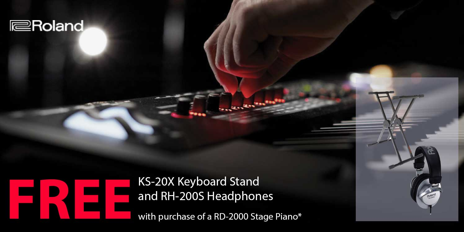 FREE Roland KS-20X Keyboard Stand and RH-200S Headphones with RD-2000 Stage Piano
