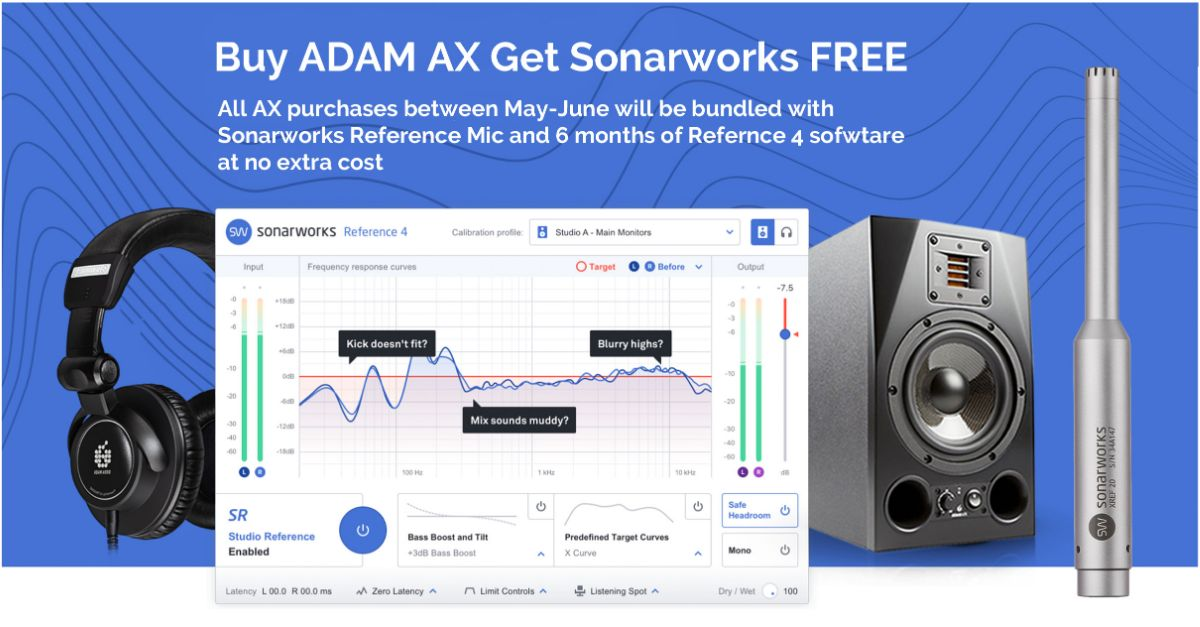 Adam Audio bundles Sonarworks 4 with every pair of AX Monitors purchased in May-June