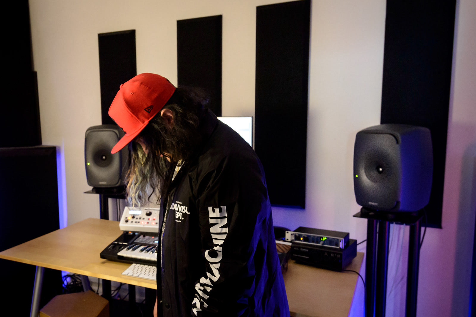 Shawn Nadiri in his studio with Genelec 8351 speakers