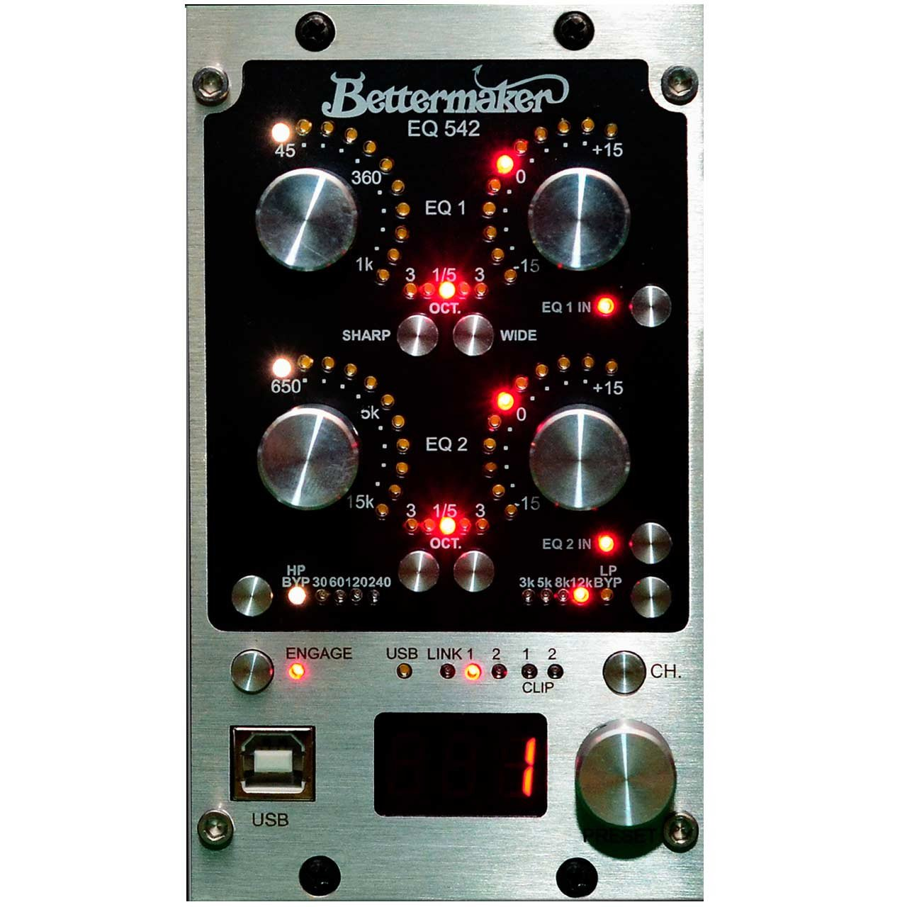 500 Series - Bettermaker EQ 542 - Stereo Analog Parametric Equaliser With Plugin Recall In 500 Format.